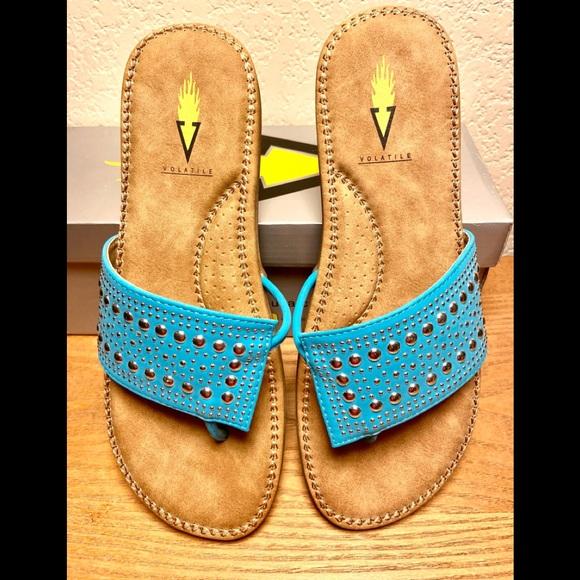 NIB-Volatile Turquoise Studded Comfort Sandals
